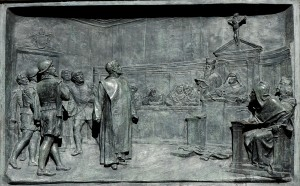 Bronze relief of the Trial of Giordano Bruno by Ettore Ferrari.  Source: Wikipedia (public domain)